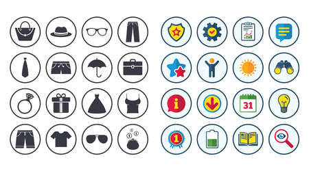Set of Clothes, Accessories and Glasses icons. Shirt, Umbrella and Hat signs. Wallet, Handbag and Briefcase symbols. Calendar, Report and Book signs. Stars, Service and Download icons. Vector