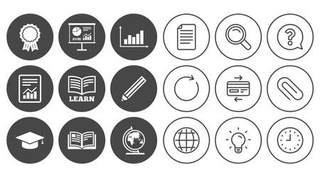 Education and study icon. Presentation signs. Report, analysis and award medal symbols. Document, Globe and Clock line signs. Lamp, Magnifier and Paper clip icons. Question, Credit card and Refresh