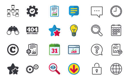 Website database icon. Copyrights and gear signs. 404 page not found symbol. Under construction. Chat, Report and Calendar signs. Stars, Statistics and Download icons. Question, Clock and Globe