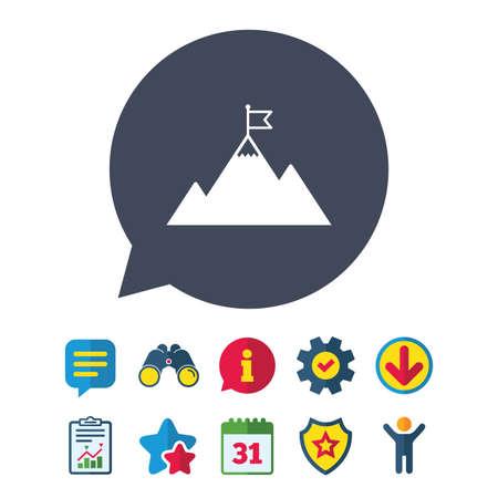 Vlag op berg pictogram. Leiderschap motivatie teken. Bergbeklimmen symbool. Informatie-, rapport- en spraakballontekens. Verrekijkers, Service en Download, Sterren iconen. Vector