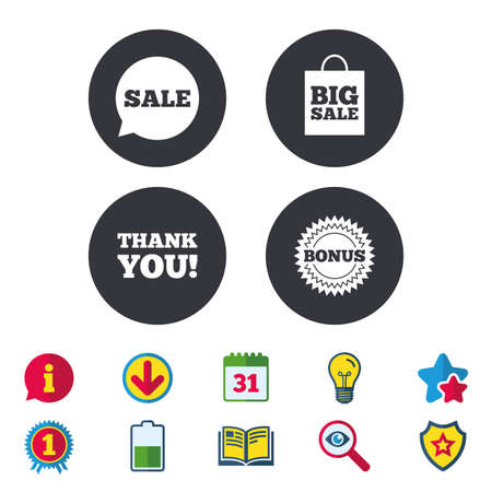 Sale speech bubble icon. Thank you symbol. Bonus star circle sign. Big sale shopping bag. Calendar, Information and Download signs. Stars, Award and Book icons. Light bulb, Shield and Search. Vector Illustration