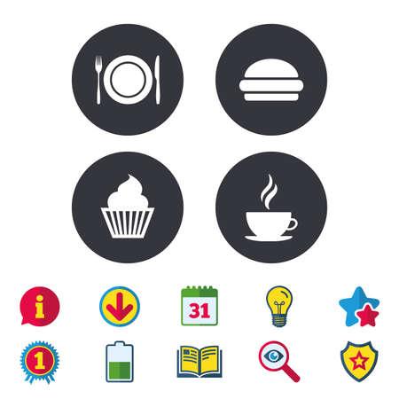 食べ物や飲み物のアイコン。マフィン ケーキのシンボル。フォークとナイフのサイン プレート皿。ホット コーヒーとハンバーグ。カレンダー、情  イラスト・ベクター素材