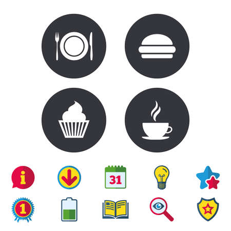 Food and drink icons. Muffin cupcake symbol. Plate dish with fork and knife sign. Hot coffee cup and hamburger. Calendar, Information and Download signs. Stars, Award and Book icons. Vector
