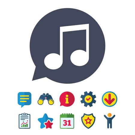 Muziek teken notitiepictogram. Muzikaal symbool. Informatie-, rapport- en tekstballonborden. Verrekijker, service en download, sterren pictogrammen. Vector Stock Illustratie