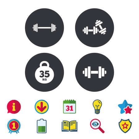Dumbbells sign icons. Fitness sport symbols. Gym workout equipment. Calendar, Information and Download signs. Stars, Award and Book icons. Light bulb, Shield and Search. Vector Illustration
