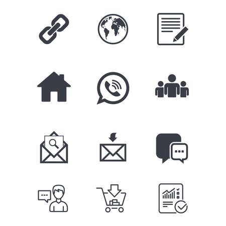 Communication icons. Contact, mail signs. E-mail, call phone and group symbols. Customer service, Shopping cart and Report line signs. Online shopping and Statistics. Vector