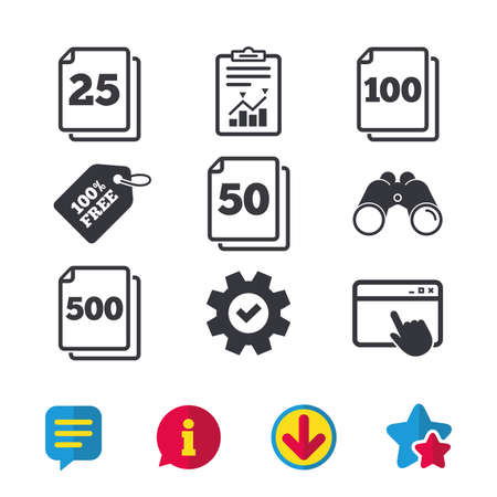 In pack sheets icons. Quantity per package symbols. 25, 50, 100 and 500 paper units in the pack signs. Browser window, Report and Service signs. Binoculars, Information and Download icons. Vector Illustration
