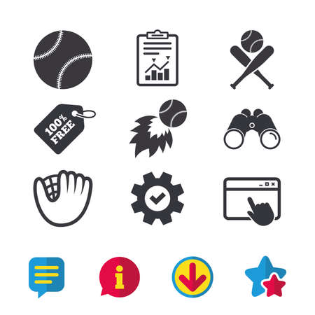 Baseball sport icons. Ball with glove and two crosswise bats signs. Fireball symbol. Browser window, Report and Service signs. Binoculars, Information and Download icons. Stars and Chat. Vector
