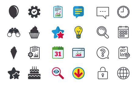 Birthday party icons. Cake with ice cream signs. Air balloon symbol. Chat, Report and Calendar signs. Stars, Statistics and Download icons. Question, Clock and Globe. Vector