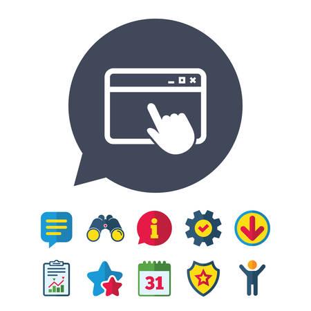 ページ アイコンをクリックします。ブラウザー ウィンドウのシンボル。ウェブサイトまたはインターネットの符号。情報・ レポート ・音声バブル