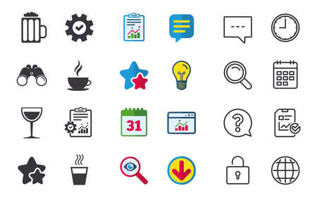 Drinks icons. Coffee cup and glass of beer symbols. Wine glass sign. Chat, Report and Calendar signs. Stars, Statistics and Download icons. Question, Clock and Globe. Vector