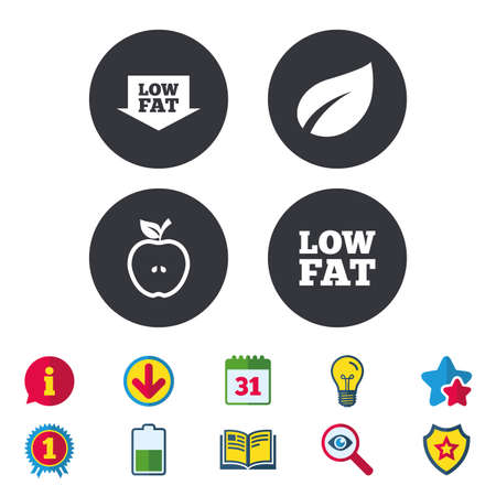 Low fat arrow icons. Diets and vegetarian food signs. Apple with leaf symbol. Calendar, Information and Download signs. Stars, Award and Book icons. Light bulb, Shield and Search. Vector
