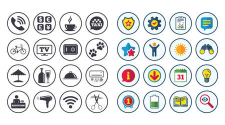Set of Hotel services icons. Phone call, Wifi internet and Currency exchange signs. Coffee, Wine bottle and Air conditioning symbols. Calendar, Report and Book signs. Stars, Service and Download icons Illustration