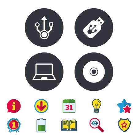 Usb フラッシュ ドライブのアイコン。ノートブックまたはラップトップ pc のシンボル。CD または DVD の符号。コンパクト ディスク。カレンダー、情