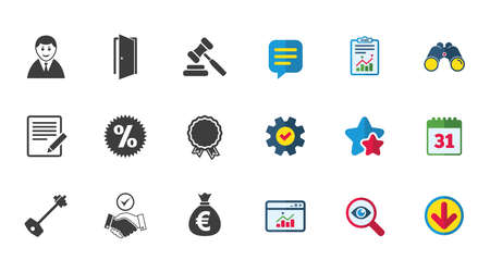 Real estate, auction icons. Home key, discount and door signs. Business agent, award medal symbols. Calendar, Report and Download signs. Stars, Service and Search icons. Vector
