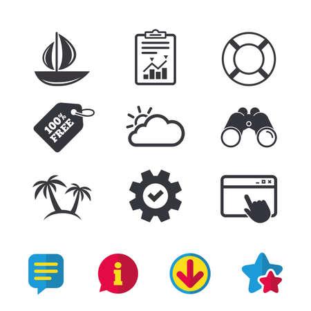 Reise-Ikonen. Segelboot mit Rettungsringsymbolen. Wolke mit Sonnenwetterzeichen. Palme. Browserfenster, Berichts- und Dienstzeichen. Ferngläser, Informationen und Download-Symbole. Sterne und Chat. Vektor Standard-Bild - 83382662