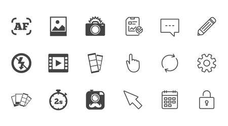 Foto, Video-Symbole. Kamera, Fotos und Rahmenschilder. Keine Flash-, Timer- und Streifensymbole. Chat-, Report- und Kalenderzeilen. Service-, Bleistift- und Schließfachikonen. Klicken, Drehung und Cursor. Vektor Standard-Bild - 83365839