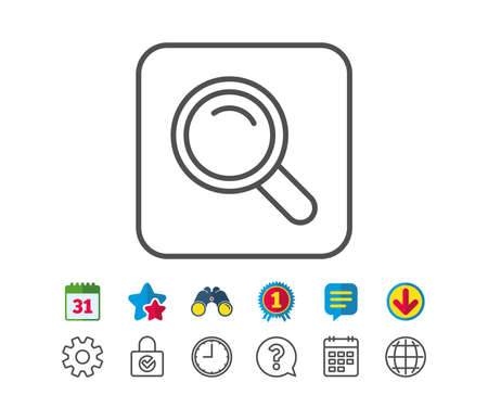 Search line icon. Magnifying glass sign. Enlarge tool symbol. Calendar, Globe and Chat line signs. Binoculars, Award and Download icons. Editable stroke. Vector