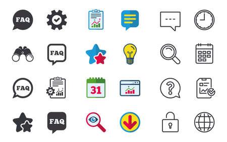 よくあるご質問情報アイコン。スピーチの泡のシンボルを助けます。円および正方形の兆候を話します。チャット、報告書、カレンダーのサイン。