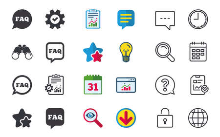 FAQ information icons. Help speech bubbles symbols. Circle and square talk signs. Chat, Report and Calendar signs. Stars, Statistics and Download icons. Question, Clock and Globe. Vector