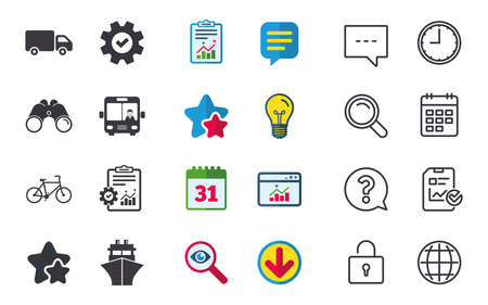 Transport icons. Truck, Bicycle, Public bus with driver and Ship signs. Shipping delivery symbol. Family vehicle sign. Chat, Report and Calendar signs. Stars, Statistics and Download icons. Vector