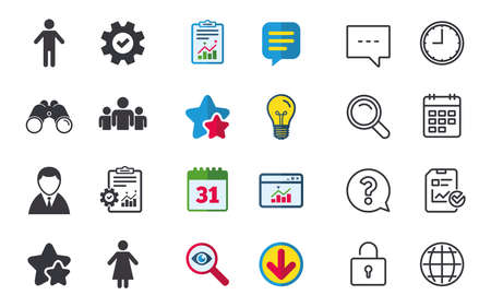 Businessman person icon. Group of people symbol. Man and Woman signs. Chat, Report and Calendar signs. Stars, Statistics and Download icons. Question, Clock and Globe. Vector Illustration