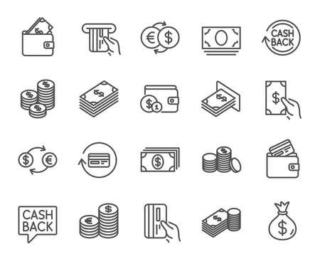 Ikony linii pieniędzy. Zestaw znaków bankowych, portfelowych i monet. Karta kredytowa, wymiana walut i usługa cashback. Symbole euro i dolara. Elementy jakości. Skok do edycji. Wektor