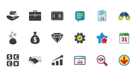 Money, cash and finance icons. Handshake, safe and currency exchange signs. Chart, case and jewelry symbols. Calendar, Report and Download signs. Stars, Service and Search icons. Vector Illustration