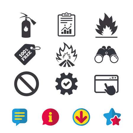 Icônes de flamme de feu. Signe d'extincteur. Symbole d'arrêt d'interdiction. Fenêtre du navigateur, signes de rapport et de service. Jumelles, informations et icônes de téléchargement. Stars et Chat. Vecteur Banque d'images - 83365898