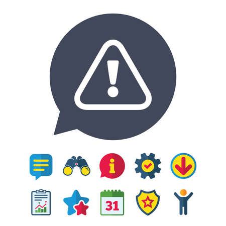Attention sign icon. Exclamation mark. Hazard warning symbol. Information, Report and Speech bubble signs. Binoculars, Service and Download, Stars icons. Vector Illustration