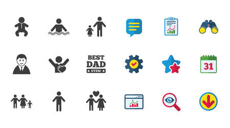 People, family icons. Swimming pool, love and children signs. Best dad, father and mother symbols. Calendar, Report and Download signs. Stars, Service and Search icons. Statistics, Binoculars and Chat