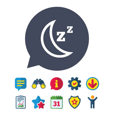 Sleep sign icon. Moon with zzz button. Standby. Information, Report and Speech bubble signs. Binoculars, Service and Download, Stars icons. Vector