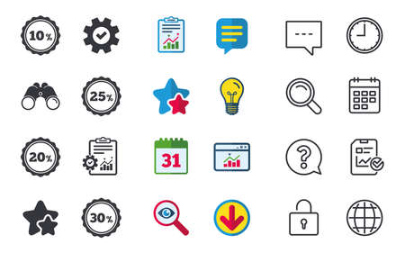 Sale discount icons. Special offer stamp price signs. 10, 20, 25 and 30 percent off reduction symbols. Chat, Report and Calendar signs. Stars, Statistics and Download icons. Question, Clock and Globe Иллюстрация