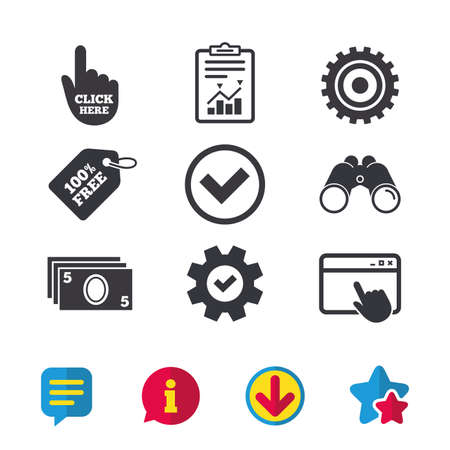 ATM cash machine withdrawal icons. Click here, check PIN number, processing and cash withdrawal symbols. Browser window, Report and Service signs. Binoculars, Information and Download icons. Vector Çizim