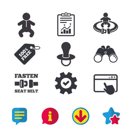 Baby infants icons. Toddler boy with diapers symbol. Fasten seat belt signs. Child pacifier and pram stroller. Browser window, Report and Service signs. Binoculars, Information and Download icons