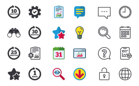 Every 10, 25, 30 minutes and 1 hour icons. Full rotation arrow symbols. Iterative process signs. Chat, Report and Calendar signs. Stars, Statistics and Download icons. Question, Clock and Globe Ilustração