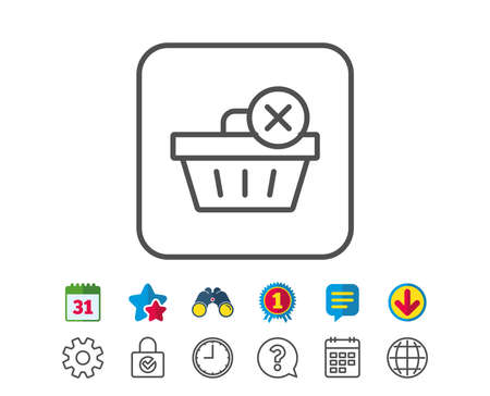 gift basket: Remove Shopping cart line icon. Online buying sign. Supermarket basket symbol. Calendar, Globe and Chat line signs. Binoculars, Award and Download icons. Editable stroke. Vector Illustration