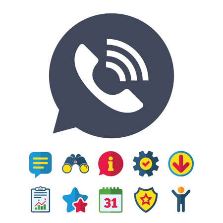 hotline: Phone sign icon. Support symbol. Call center. Information, Report and Speech bubble signs. Binoculars, Service and Download, Stars icons. Vector Illustration