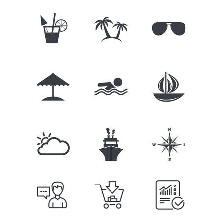 compass rose: Cruise trip, ship and yacht icons. Travel, cocktails and palm trees signs. Sunglasses, windrose and swimming symbols. Customer service, Shopping cart and Report line signs. Vector
