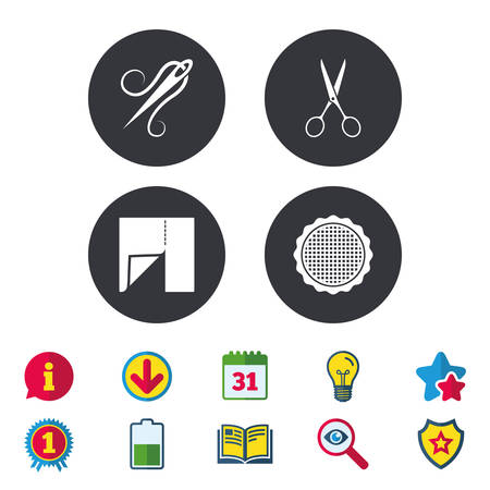 Textile cloth piece icon. Scissors hairdresser symbol. Needle with thread. Tailor symbol. Canvas for embroidery. Calendar, Information and Download signs. Stars, Award and Book icons. Vector Illusztráció