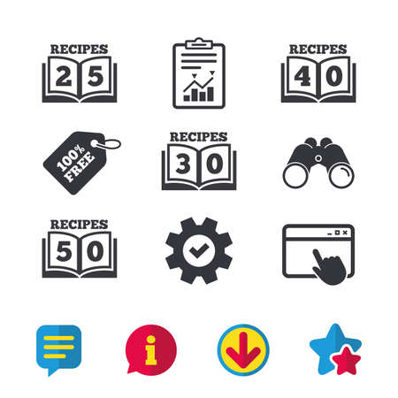 five star: Cookbook icons. 25, 30, 40 and 50 recipes book sign symbols. Browser window, Report and Service signs. Binoculars, Information and Download icons. Stars and Chat. Vector