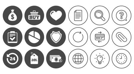 Online shopping, e-commerce and business icons. Checklist, like and pie chart signs. Money bag, discount and protection symbols. Document, Globe and Clock line signs. Vector