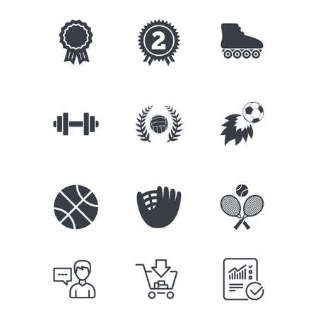 Gry sportowe, ikony fitness. Znaki piłki nożnej, koszykówki i siatkówki. Hantle, baseball i symbole nagrody zwycięzcy. Obsługa klienta, koszyk na zakupy i znaki linii raportu. Wektor Ilustracje wektorowe