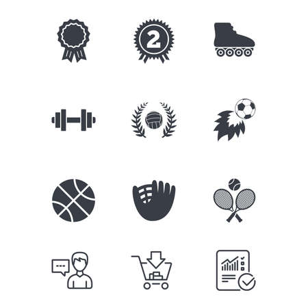 Sport games, fitness icons. Football, basketball and volleyball signs. Dumbbell, baseball and winner award symbols. Customer service, Shopping cart and Report line signs. Vector