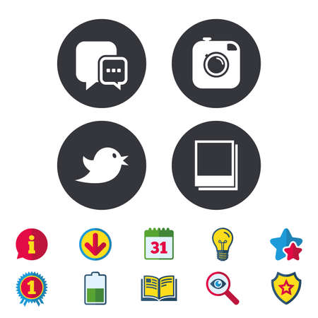 Social media icons. Chat speech bubble symbol. Hipster photo camera sign. Empty photo frames. Calendar, Information and Download signs. Stars, Award and Book icons. Light bulb, Shield and Search Illustration