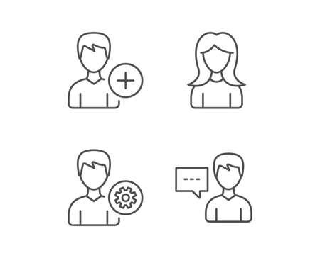 Iconos de línea de perfil y servicio masculino y femenino. Comunicación o señal de conversación. Elementos de diseño de calidad. Trazo editable. Vector Foto de archivo - 83366043