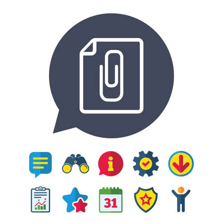 File annex icon. Paper clip symbol. Attach symbol. Information, Report and Speech bubble signs. Binoculars, Service and Download, Stars icons. Vector 向量圖像