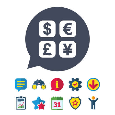 currency converter: Currency exchange sign icon. Currency converter symbol. Money label. Information, Report and Speech bubble signs. Binoculars, Service and Download, Stars icons. Vector