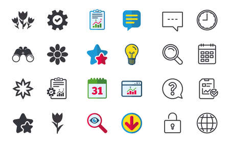 Flowers icons. Bouquet of roses symbol. Flower with petals and leaves. Chat, Report and Calendar signs. Stars, Statistics and Download icons. Question, Clock and Globe. Vector