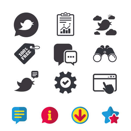 Birds icons. Social media speech bubble. Short messages chat symbol. Browser window, Report and Service signs. Binoculars, Information and Download icons. Stars and Chat. Vector